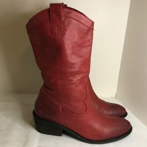 Jessica Simpson size 9 soft red leather boots EUC